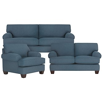 Quinn Blue Fabric Living Room