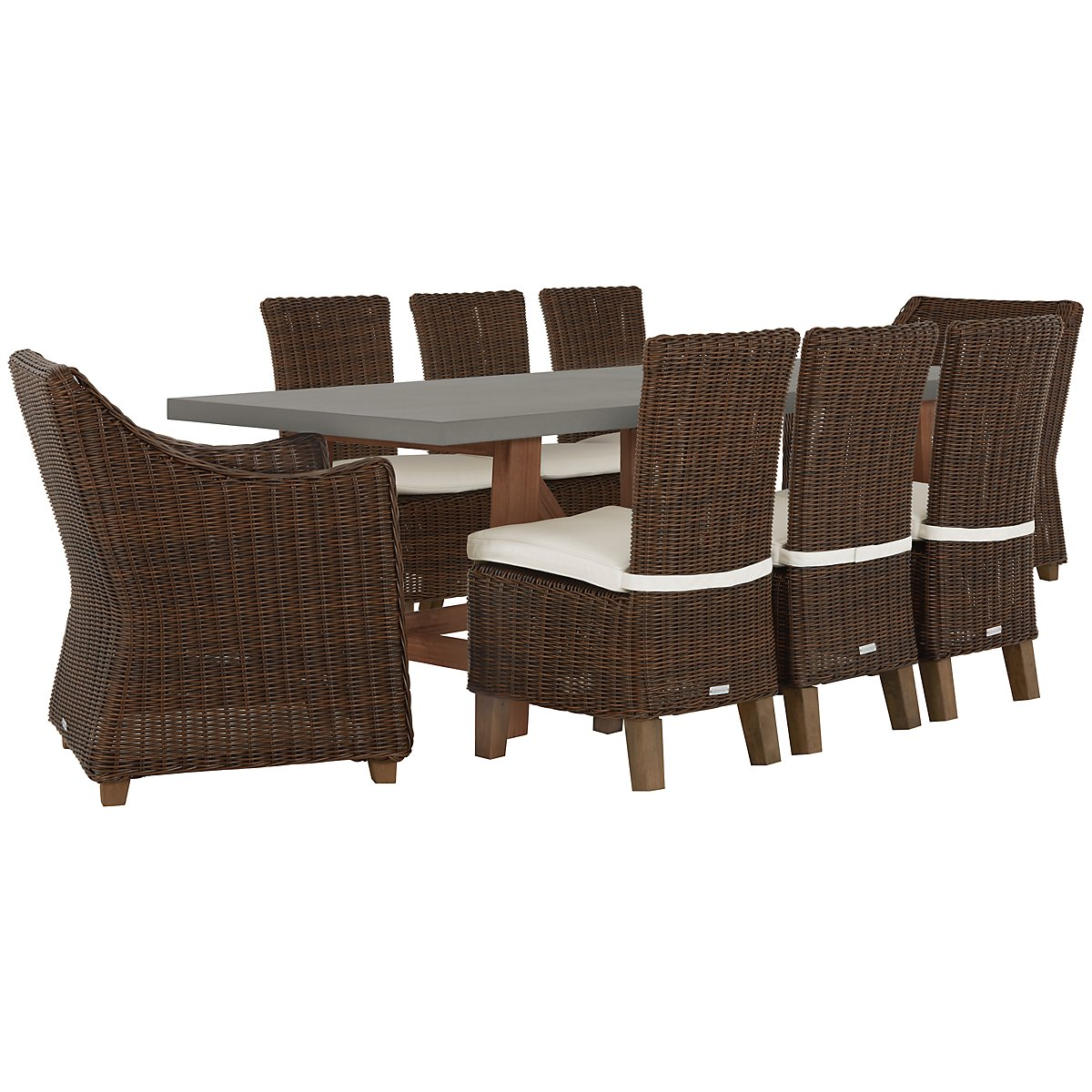 Canyon Concrete Dk Brown Rectangular Table & 4 Chairs