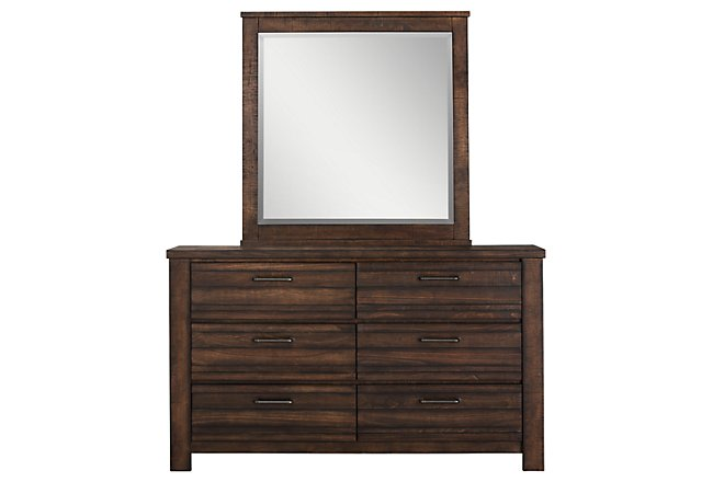 Nolan Dark Tone Wood Dresser & Mirror