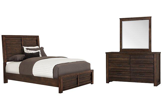 Nolan Dark Tone Wood Panel Bedroom