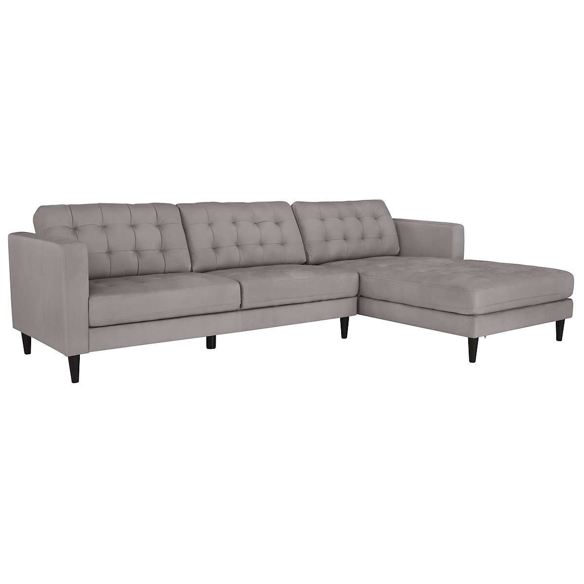 City furniture shae light gray microfiber right chaise for Gray microfiber sectional sofa with chaise