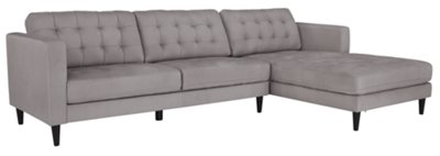 Image Of Shae Light Gray Microfiber Right Chaise Sectional With Sku:9708680