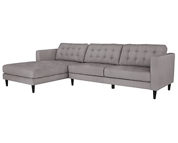Shae Light Gray Microfiber Left Chaise Sectional