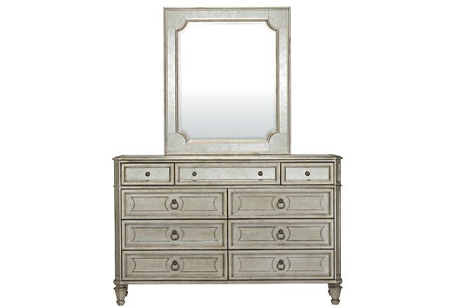 Sloane Silver Wood Dresser & Mirror