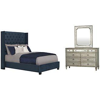Sloane Dark Blue Upholstered Shelter Bedroom
