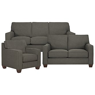 York Dark Gray Fabric Living Room