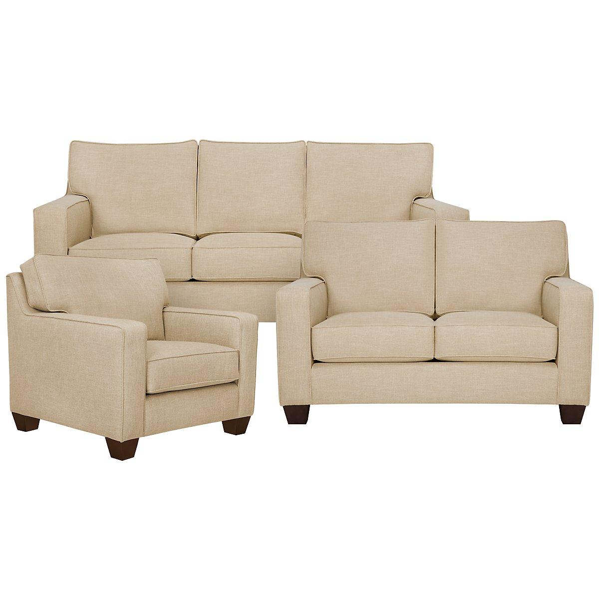 York Beige Fabric Living Room