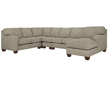 York Pewter Fabric Large Right Chaise Sectional