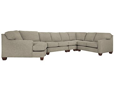 York Pewter Fabric Large Left Cuddler Sectional