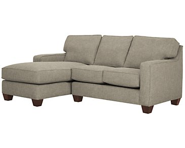 York Pewter Fabric Left Chaise Sectional