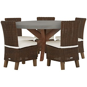 Canyon Concrete Dark Brown Round Table & 4 Chairs