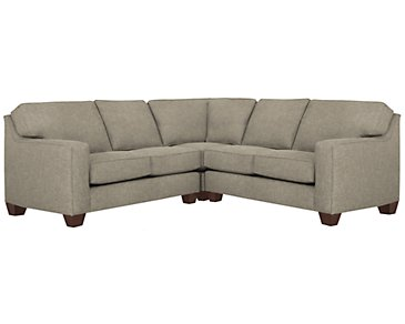 York Pewter Fabric Small Two-Arm Sectional