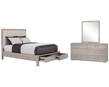 Caelan Light Tone Upholstered Platform Storage Bedroom