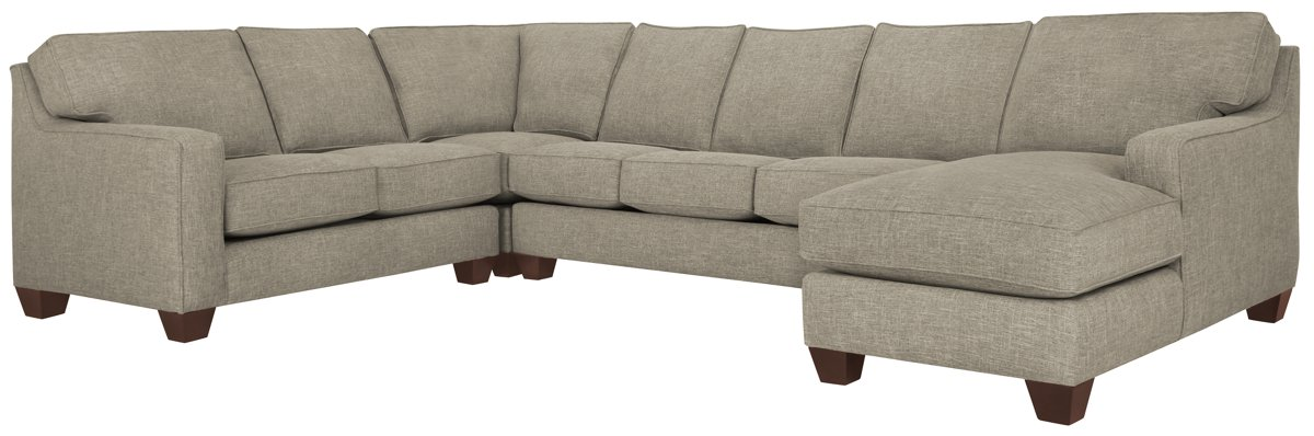 York Pewter Fabric Right Chaise Innerspring Sleeper Sectional
