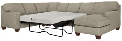 City Furniture York Pewter Fabric Right Chaise Memory Foam Sleeper