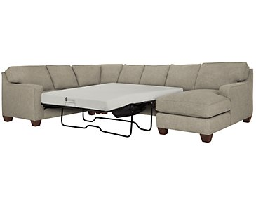 York Pewter Fabric Right Chaise Memory Foam Sleeper Sectional