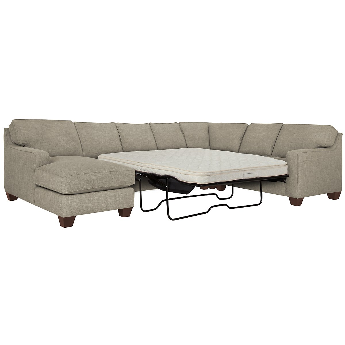 York Pewter Fabric Left Chaise Innerspring Sleeper Sectional