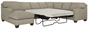 City Furniture York Pewter Fabric Left Chaise Memory Foam Sleeper Sectional