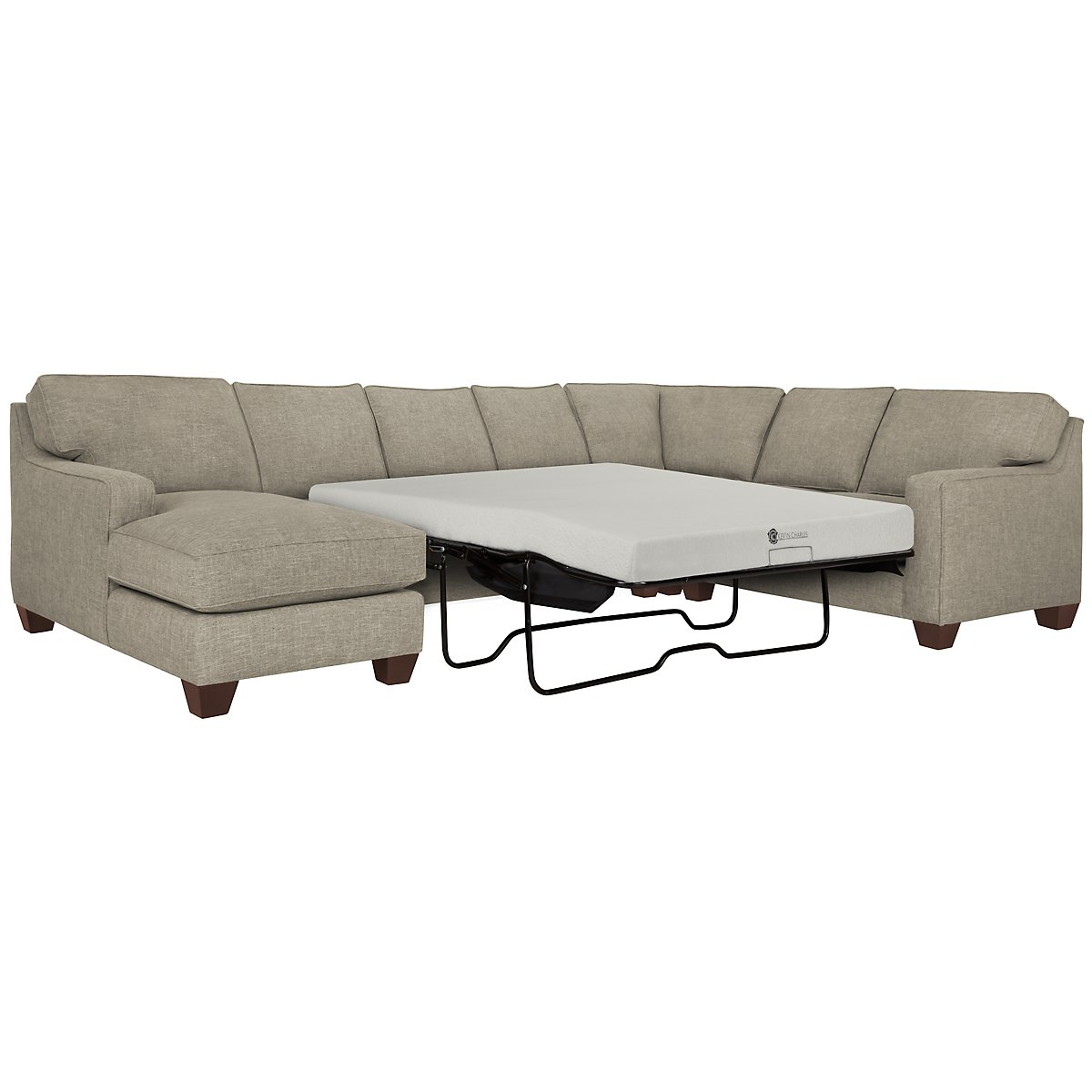 York Pewter Fabric Left Chaise Memory Foam Sleeper Sectional