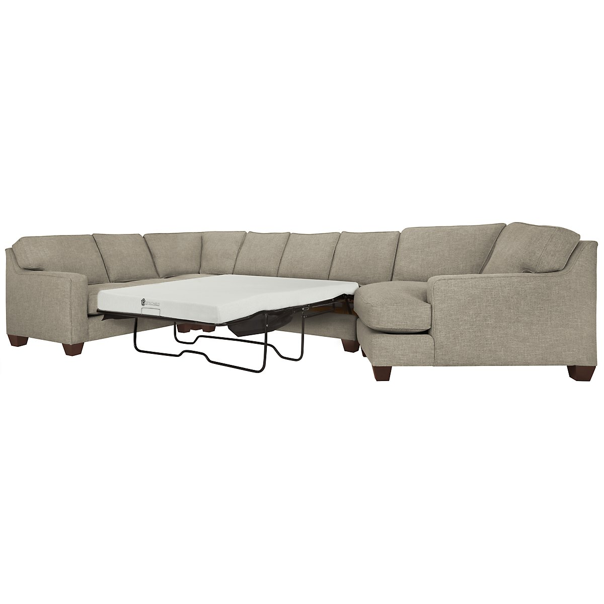York Pewter Fabric Small Right Cuddler Memory Foam Sleeper Sectional