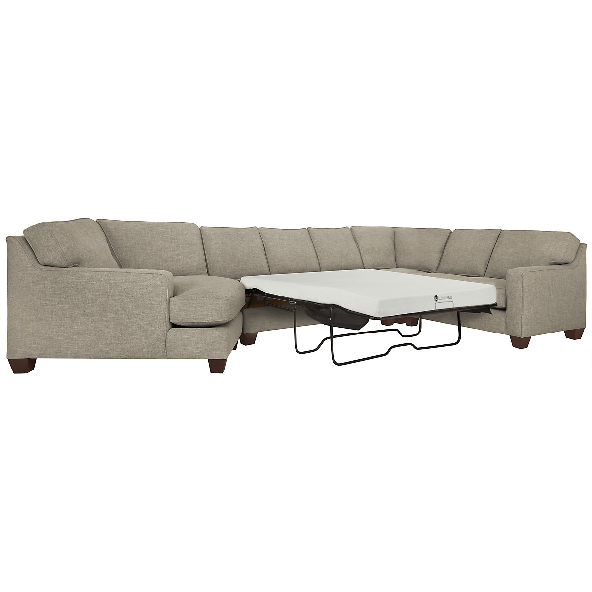 York Pewter Fabric Small Left Cuddler Memory Foam Sleeper Sectional
