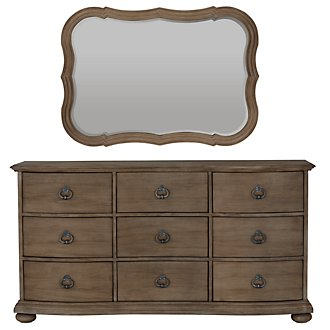 Haddie Light Tone Dresser & Mirror