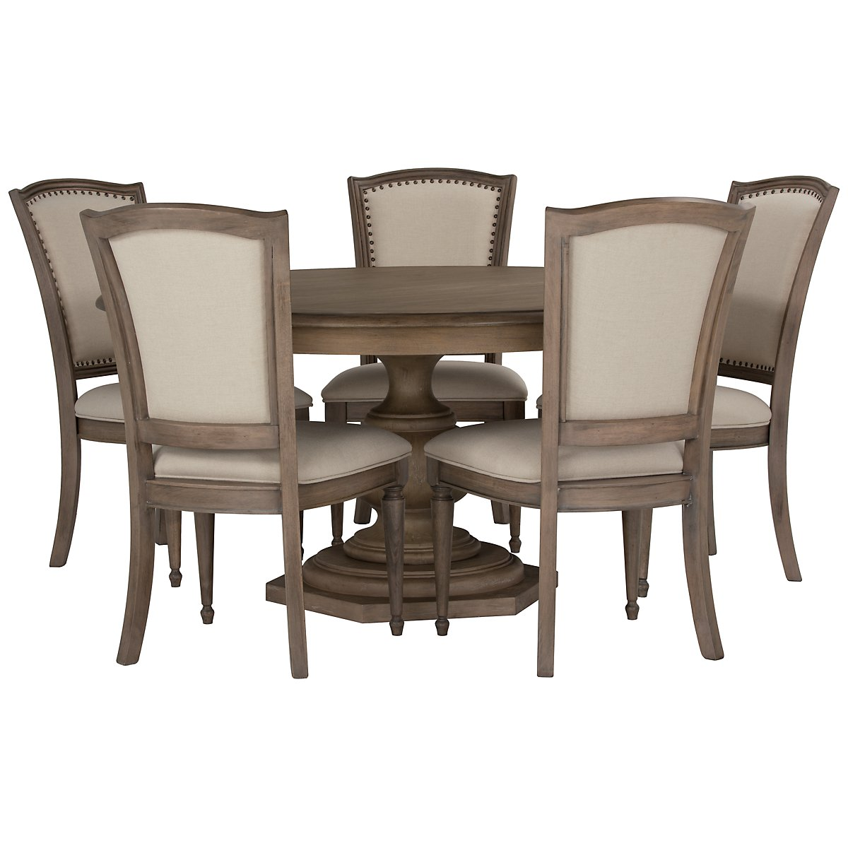 Haddie Light Tone Round Table & 4 Wood Chairs