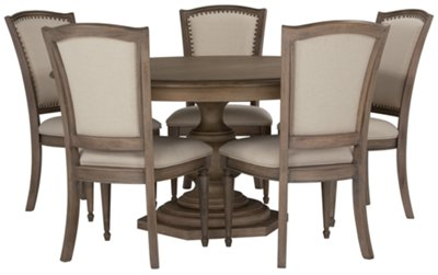 Haddie Light Tone Round Table U0026 4 Wood Chairs