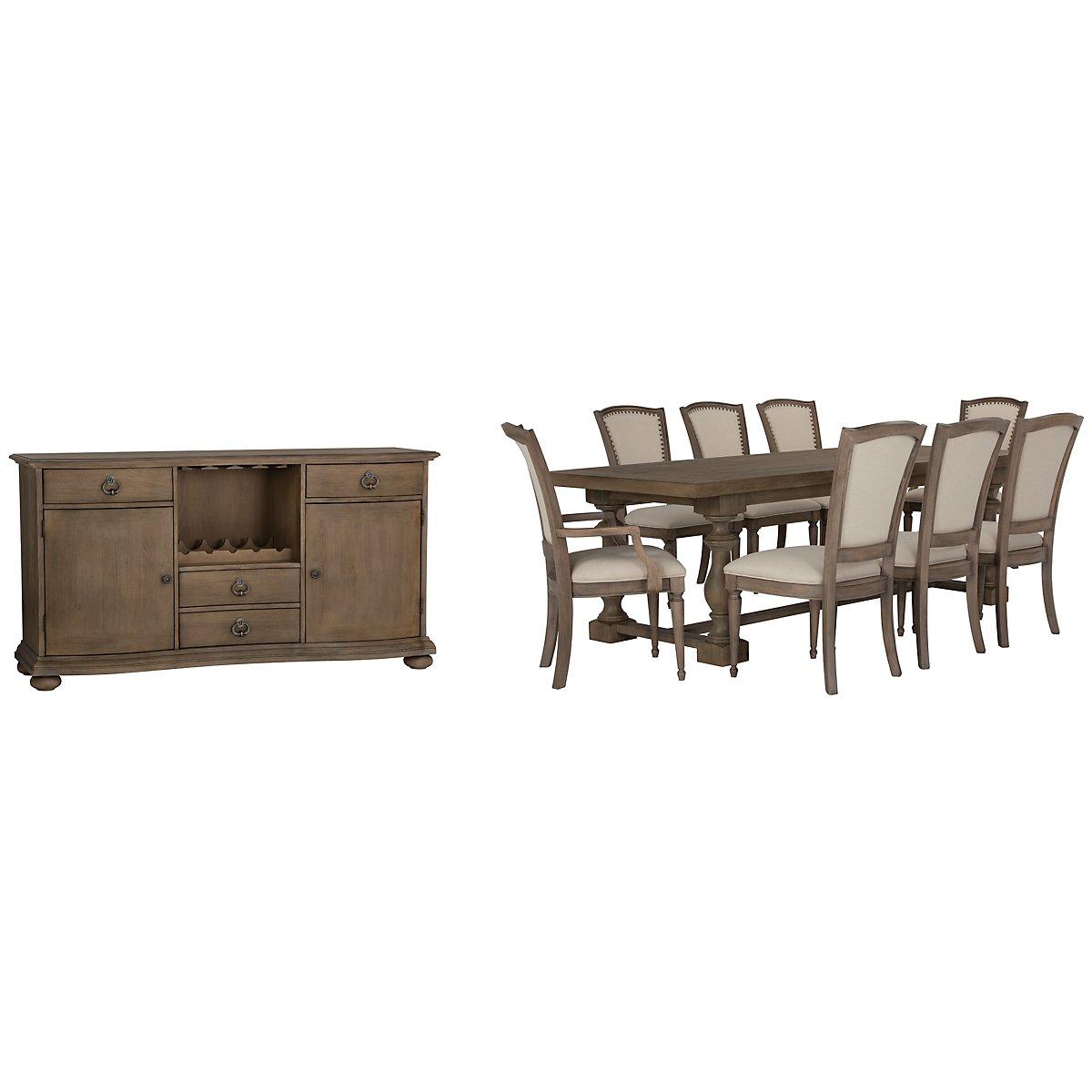 Haddie Light Tone Wood Trestle Dining Room