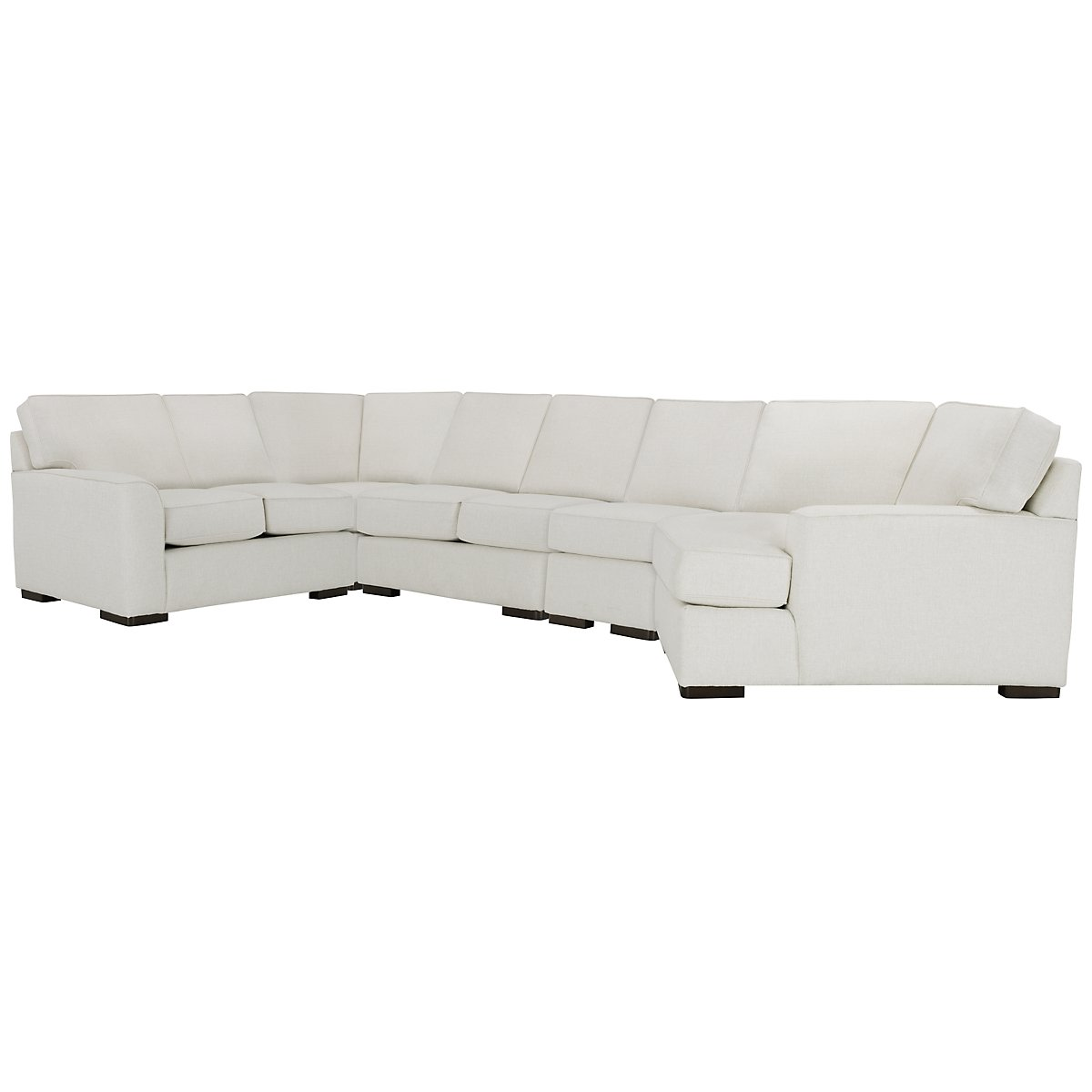Austin White Fabric Large Right Cuddler Sectional