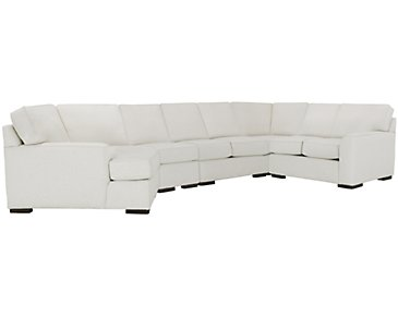 Austin White Fabric Large Left Cuddler Sectional