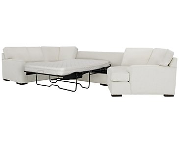 Austin White Fabric Right Cuddler Innerspring Sleeper Sectional