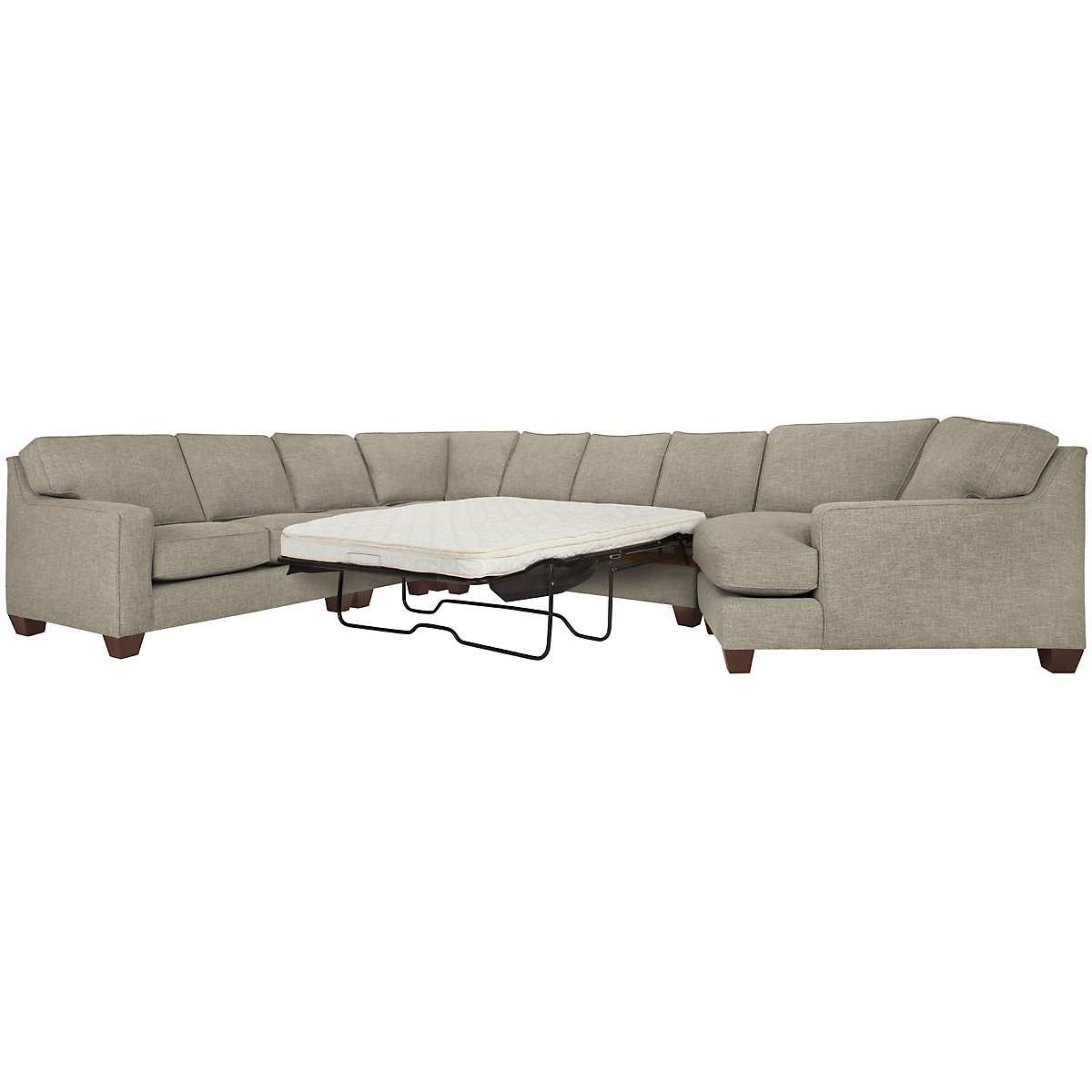 York Pewter Fabric Large Right Cuddler Innerspring Sleeper Sectional