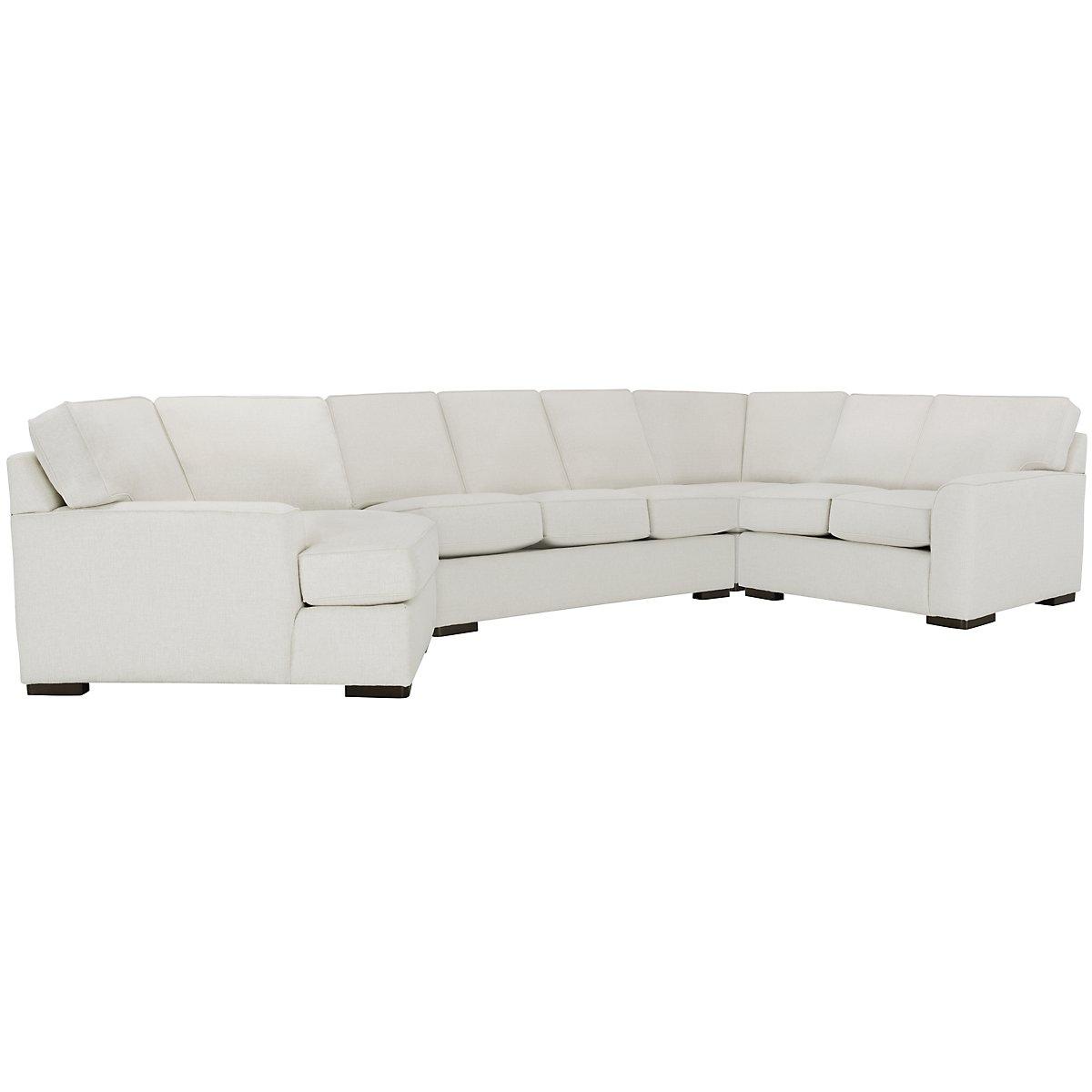 Austin White Fabric Left Cuddler Memory Foam Sleeper Sectional