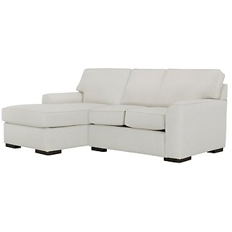 Austin White Fabric Left Chaise Sectional