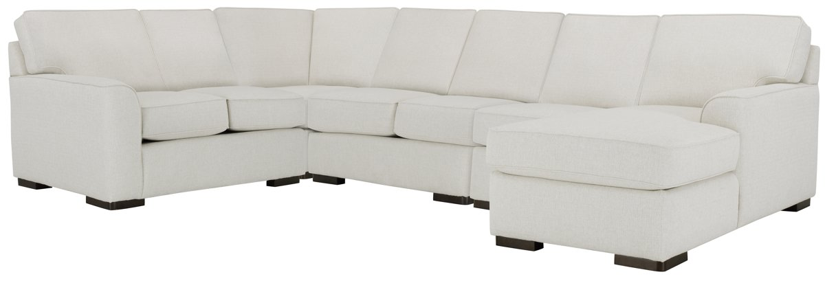 Austin White Fabric Large Right Chaise Sectional