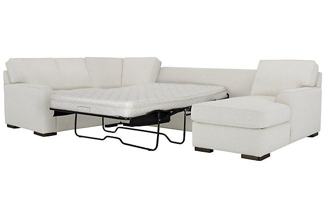 Austin White Fabric Right Chaise Innerspring Sleeper Sectional