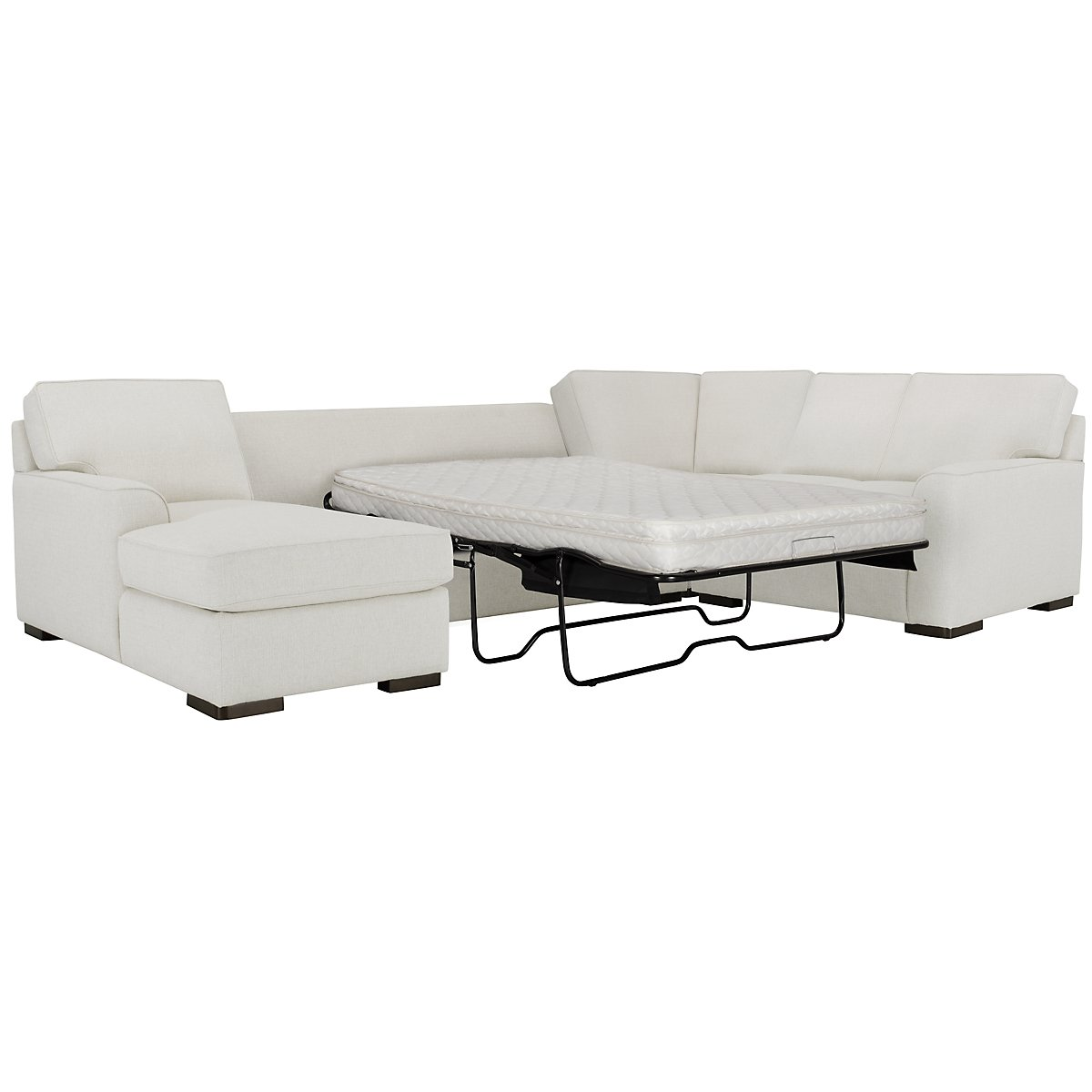 Austin White Fabric Left Chaise Innerspring Sleeper Sectional