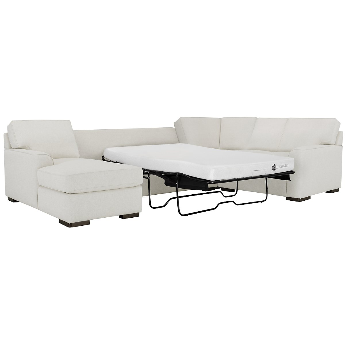 Austin White Fabric Left Chaise Memory Foam Sleeper Sectional