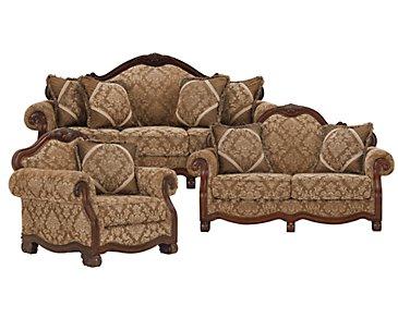 Regal Dark Tone Fabric Living Room