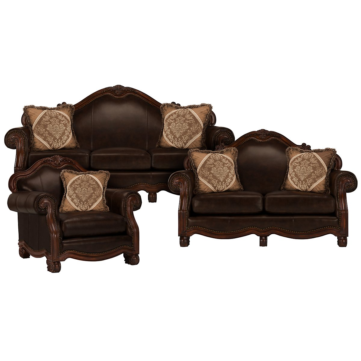 Regal Dark Tone Leather Living Room