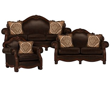 Regal Dark Tone Leather Living Room