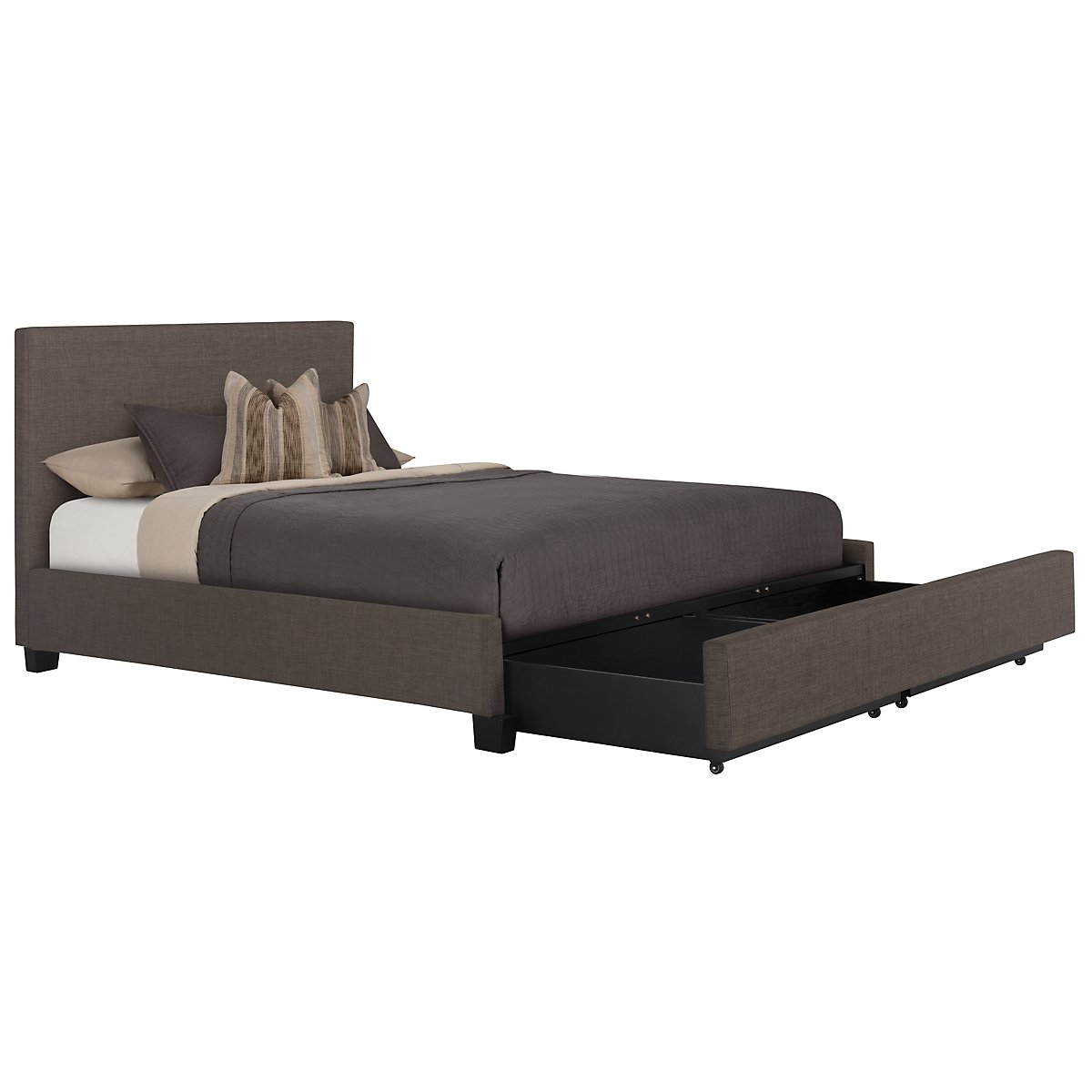 Madden Gray Upholstered Platform Storage Bed