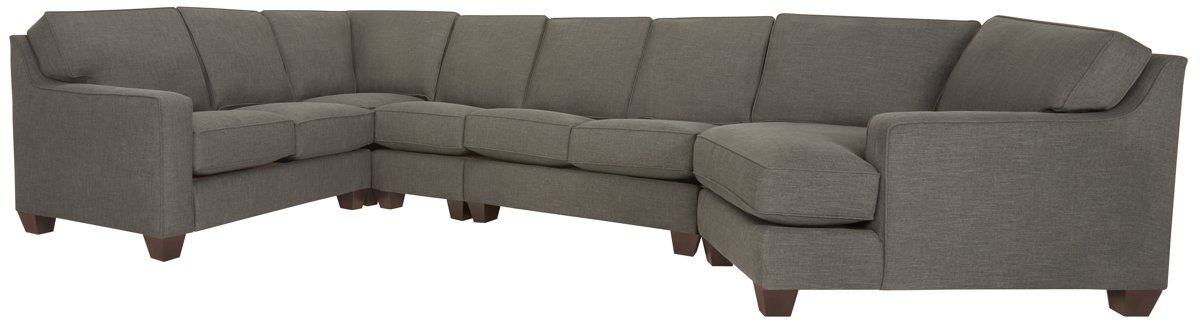York Dark Gray Fabric Large Right Cuddler Sectional