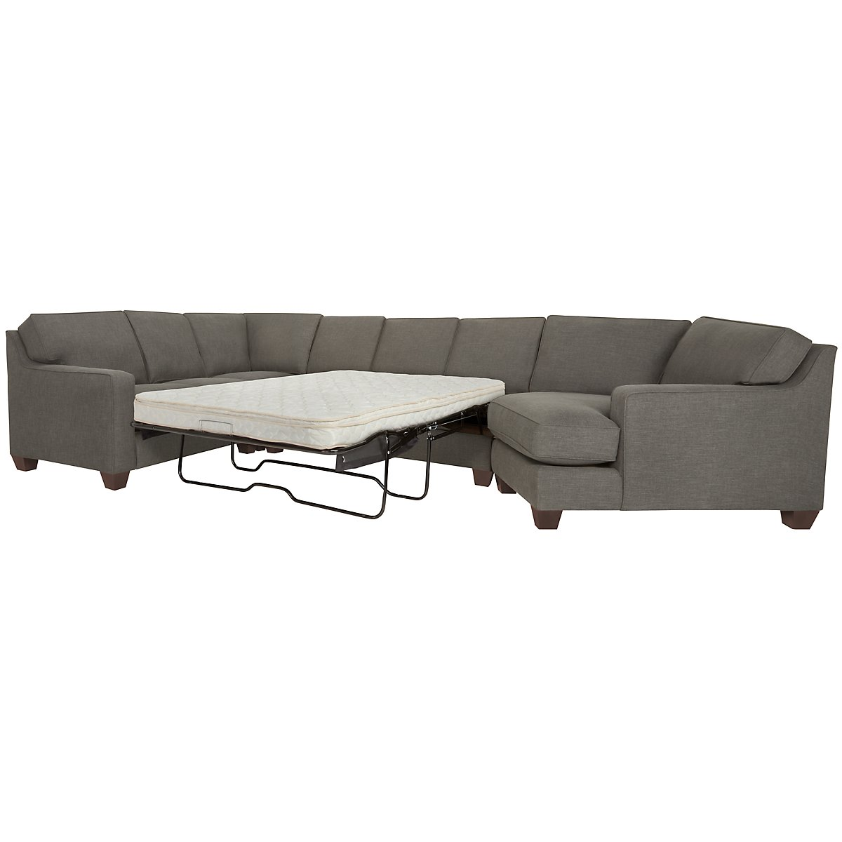 York Dark Gray Fabric Small Right Cuddler Innerspring Sleeper Sectional