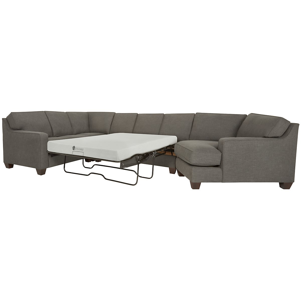 York Dark Gray Fabric Small Right Cuddler Memory Foam Sleeper Sectional