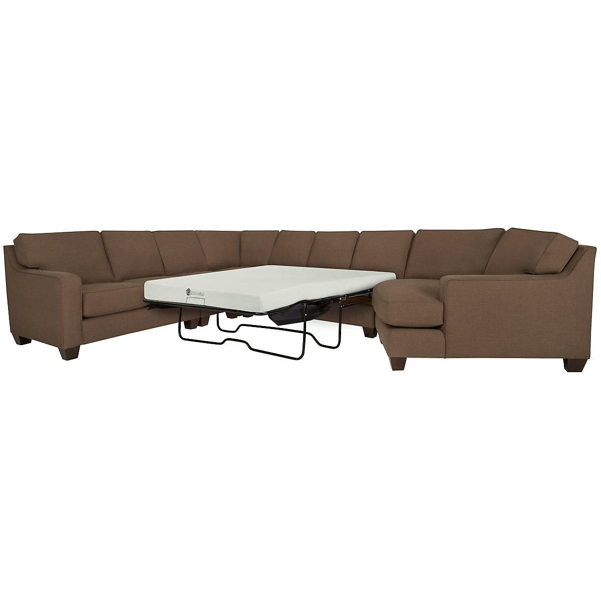 York Dark Brown Fabric Large Right Cuddler Memory Foam Sleeper Sectional