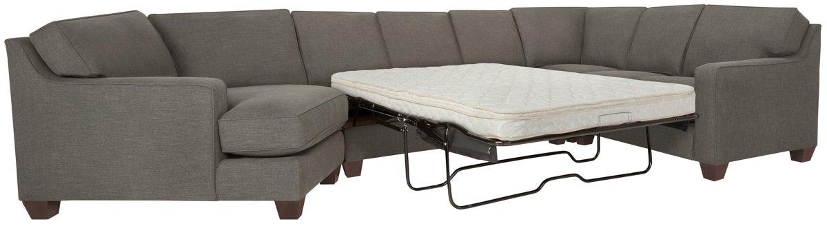 York Dark Gray Fabric Small Left Cuddler Innerspring Sleeper Sectional