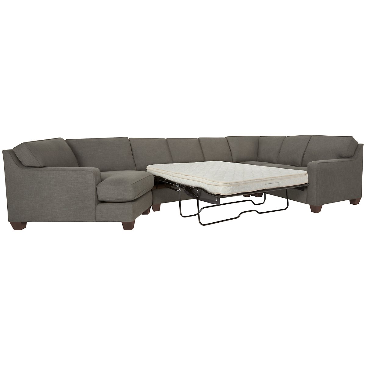 York Dark Gray Fabric Small Left Cuddler Innerspring Sleeper Sectional