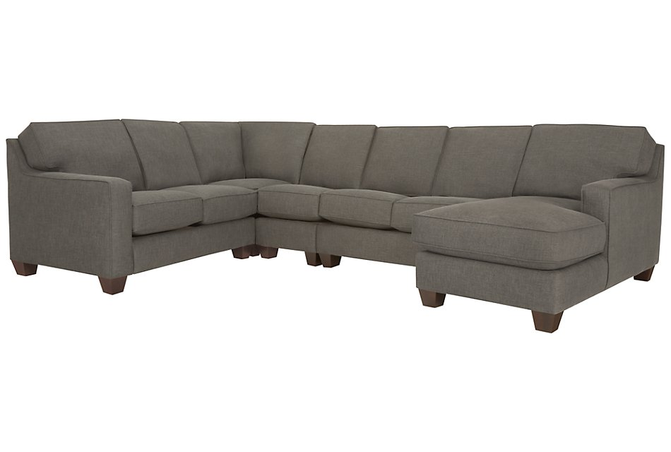 York Dark Gray FABRIC Large Right Chaise Sectional | Living ...